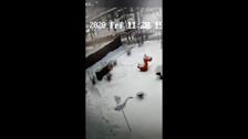 Иномарка врезалась в столб у детского сада в Южно-Сахалинске